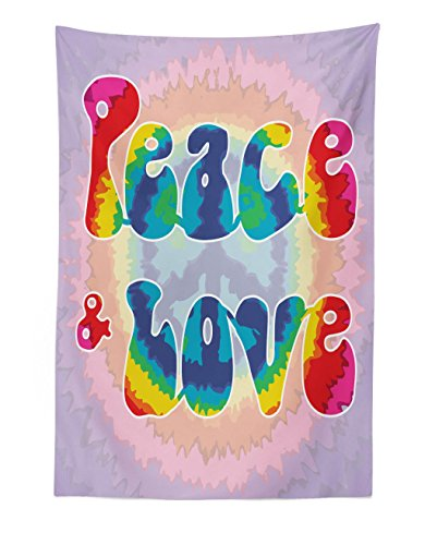 Ambesonne Groovy Tapestry, Peace and Love Text in Tie Dye Effect Pattern Energetic Youthful Fun 60s 70s Hippie, Fabric Wall Hanging Decor for Bedroom Living Room Dorm, 30 W X 45 L Inches, Multicolor ()