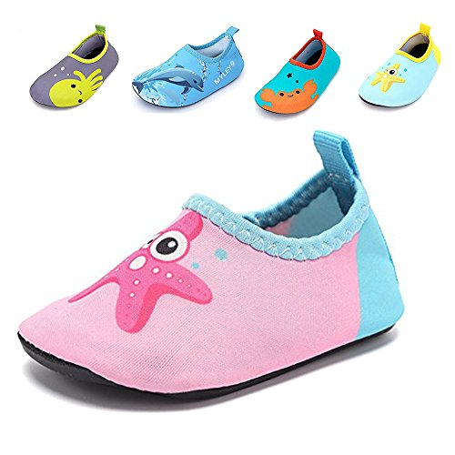 JACKSHIBO Kids Water Shoes, Lightweight Skin Swim Shoes Quick Dry Barefoot Aqua Socks Shoes for Beach Surf Yoga Exercise,PinkStarfish-XXS ()