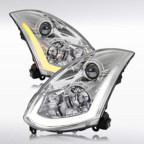 Autozensation For Infiniti G35 2Dr Coupe Clear Integrated LED Signal Projector Headlight