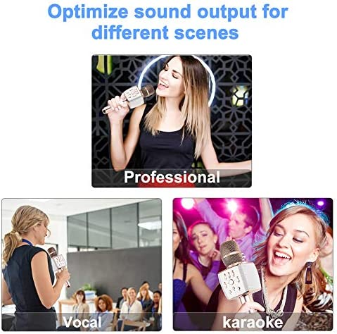 2049 X37 12w Cardioid Dynamic Karaoke Microphone, Adult Kid Handheld Wireless Bluetooth Karaoke Machine for Home/Carpool/Party/Classroom/Outdoor Compatible with Smart telephone/PC/PAD/Car Speaker/TV