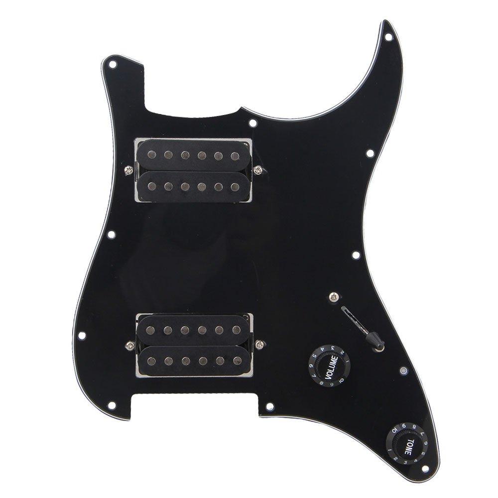 3Ply 配線済みのピックガードHHハムバッカーストラトギター用 ブラック moyinmusic   B00EQ27RCC