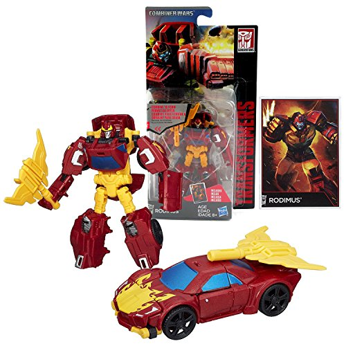Hasbro Year 2014 Transformers Generations Combiner Wars Series 4 Inch Tall Legends Class Robot Action Figure - Autobot RODIMUS with Battle Axe and Collector Card (Vehicle Mode: Sports Car)