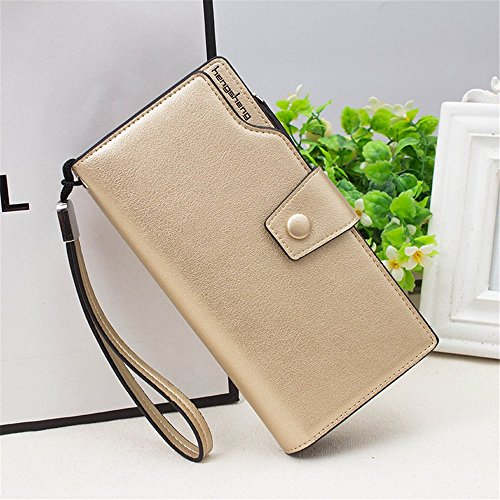 Women's PU Stylish capacity Color Leather Casual Gold Wallet Purse Purse Gold Durable Clutch rabbit Large Lovely 5xYzfntgq