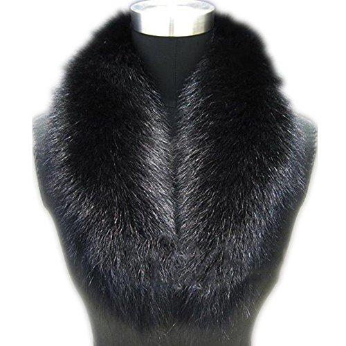 Large Long Detachable Natural Fox Fur Collar for Winter (110cm, black) (Natural Fox)