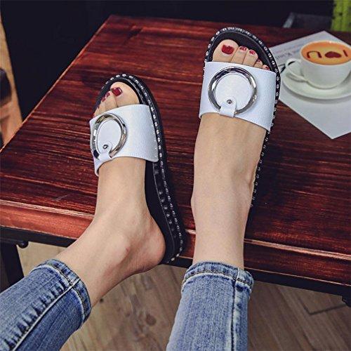 Femme Chaussures Boucle Été Été Plage Femmes Femmes à Plate Talons Élégant GongzhuMM Tongs en Ronde Sandales Blanc de Plate Chaussures Métal dwraqw