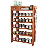 Jerry & Maggie -Wood MDF Board Shoe Rack Shelf with One Drawer Clothes Rack Shoe Storage Shelves Free Standing Flat Racks Classic Style - Multi Function Shelf Organizer (NATURAL WOOD, 30' x 12' x 38')
