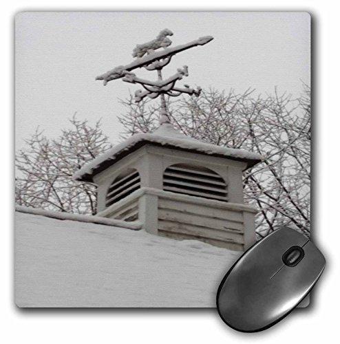 - 3dRose TDSwhite – Winter Seasonal Nature Photos - Rooftop Weathervane Winter Scene - MousePad (mp_284882_1)