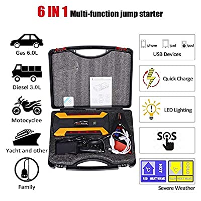 BALSCW Car Emergency Start Power,20000MAh,600A Peak Current,12Vjump Starter,Emergency (Gasoline 6.0, Diesel 3.0) 4 USB Charging/Led Lighting