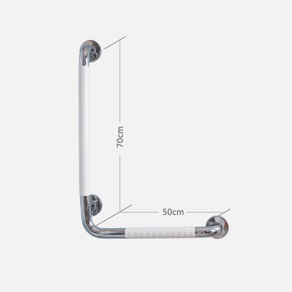 バスルームL字型手すりトイレシャワー高齢者障害者用ノンスリップバリアフリー手すり安全レバー (色 : 白, サイズ さいず : 右) B07B9XG4R8  白 右