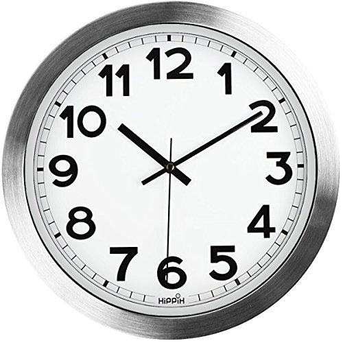 Large Indoor/Outdoor HIPPIH 12 Inch Non-Ticking & Silent Decorative Silver Aluminium Wall Clock,B