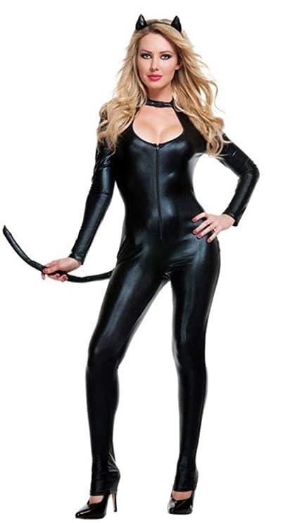 Amazon.com: XSQR Traje de mujer de látex sexy para Halloween ...