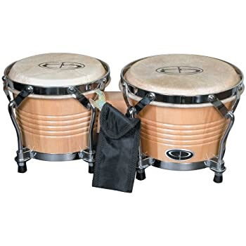GP Percussion B2 Pro-Series Tunable Bongos 6 & 7 Inch (Clear Finish, Hickory)