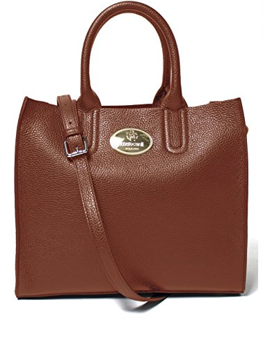 - Roberto Cavalli Women's Leather Tote Handbag Cognac