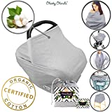 ? Organic Cotton ? Nursing Breastfeeding Cover Scarf, Baby Car Seat Canopy, Canopies, Shopping Cart, Stroller, Carseat Covers for Girls and Boys Best Multi-Use Infinity Stretchy Shawl Shower Gifts