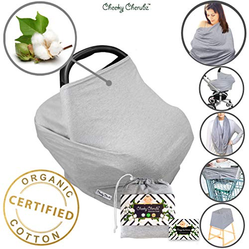 ☆ Organic Cotton ☆ Nursing Breastfeeding Cover Scarf, Baby Car Seat Canopy, Canopies, Shopping Cart, Stroller, Carseat Covers for Girls and Boys Best Multi-Use Infinity Stretchy Shawl Shower Gifts ()