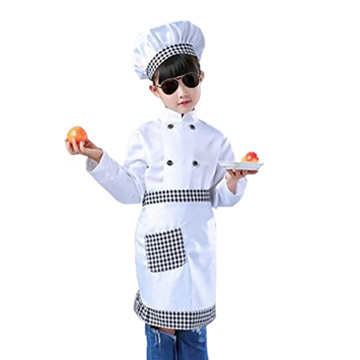 2adbabfc Amazon.com: TOPTIE Child White Long Sleeve/Short Sleeve Chef Coat, Apron  and Hat Set: Clothing
