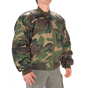 Mil-Tec US MA1 Flight Jacket Woodland XL: Amazon.co.uk: Sports ...