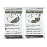 "Emergency Foil Mylar Space Thermal Blanket Survival Reflective Thermal First Aid 52"" x 83"" (2-Pack)"