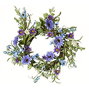 "Worth Imports 22"" Mixed Blue Purple Wreath On Twig Base 3.25"" 42"