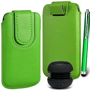 N4U Online Premium cuero de la PU del caso del tirón Tirar Tab cubierta de bolsa Con magnética Cierre de correa, Stylus Pen & Mini altavoz portable para Nokia Lumia 720 - Verde
