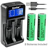 Kastar Intelligent LCD USB Charger & IMR2800 Battery (2 Pack), Rechargeable 2800mAh