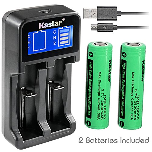 (Kastar Intelligent LCD USB Charger & IMR2800 Battery (2 Pack), Rechargeable 2800mAh (High Drain 35A) Flat Top for Electric Tools, Toys, LED Flashlights and Torch ect.)