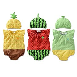 LOCOMO Baby Unisex Fruit Watermelon Melon Pineapple Bodysuit Hat Cap FBB004s01L