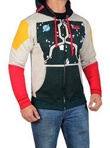 Star Wars Darker Boba Fett Costume Hoodie - Mens Cotton Zip up Sweatshirt by Miracle (X-Small, Boba Fett)