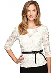 Alex Evenings Womens Three-quarter sleeve rosette lace blouse