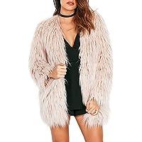 simplEE Prendas de vestir chamarra de Pelo Sintético Fluffy de manga larga cálido