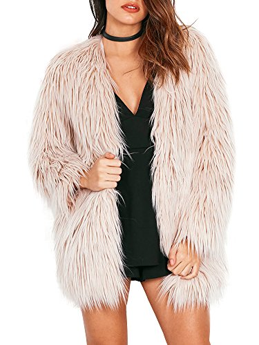Simplee Apparel Women's Long Sleeve Fluffy Faux Fur Warm Coat,Beige,8