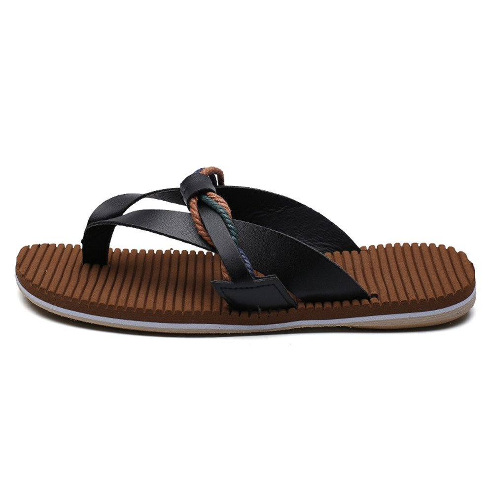 Mens Sandals, Men's Casual Thong Flip Flops Shoes Genuine Leather Beach Beach Leather Slippers Non-Slip Soft Flat Sandals (Color : Black, Size : 9.5MUS) 9.5MUS|Black B07G2SHT3J 9fdd43