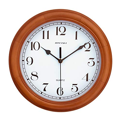 KAMEISHI 12-inch Wood Wall Clock Battery Operated Non-Ticking Quiet Sweep Second Silent Round Simple For Living Room Kitchen Bedroom Large Numbers Quartz Wall Clock Decorative KSW235U Brown by KAMEISHI