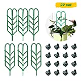 Garden Plant Support, DIY Garden Trellis for Mini Climbing Plants, 6 Leaf Shape Plant Supports, 16 Pcs Plant Orchid Clips for Ivy Roses Cucumbers Clematis Pots Supports