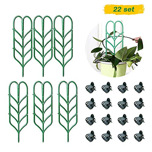 SKYCOOOOL Garden Plant Support, DIY Garden Trellis for Mini Climbing Plants, 6 Leaf Shape Plant Supports, 16 Pcs Plant Orchid Clips for Ivy Roses Cucumbers Clematis Pots Supports]()