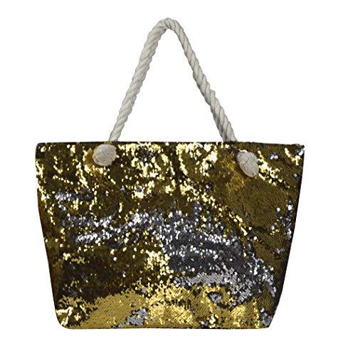 (Peach Couture Dazzling Sequin Handbag Fashion Glitter Shoulder Girls Travel Bag Gold Silver)