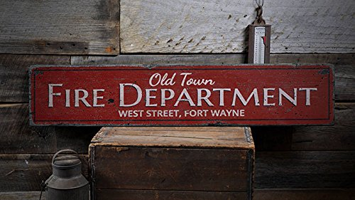 The Lizton Sign Shop Old Town Fire Dept Sign, Fire Department Sign, Fire Dept Decor, Custom Firehouse Sign, Fireman Gift, HandMade Vintage Wood Sign - 7.25 x 36 Inches