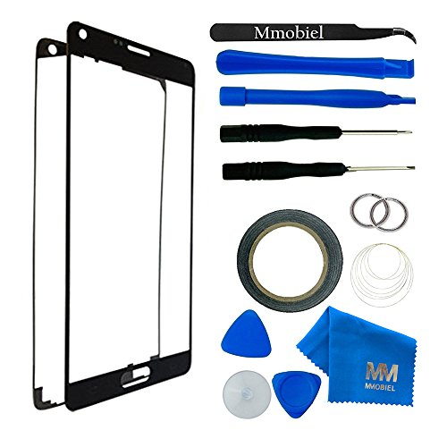 MMOBIEL Front Glass for Samsung Galaxy NOTE 3 N900 N9000 N9005 (Black) Display Touchscreen incl 12 pcs Tool Kit / Pre-cut Sticker / Tweezers/ Adhesive Tape / Suction Cup / Wire / cleaning cloth