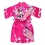 WonderFit Girls Stain Kimono Peacock Flower Robe for Spa Wedding Birthday Rose red 5-6Y