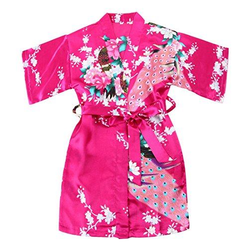 WonderFit Girls Stain Kimono Peacock Flower Robe for Spa Wedding Birthday Rose red 11-12