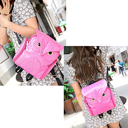 Girl's Fashion Owl Cartoon Mini Rose Red Pu Backpack Pink Bag Leather TrtOwr
