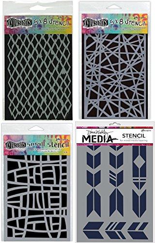 Ranger Graphic Triangular Shapes Stencil Bundle 4 Items: Dyan Reaveley's Dylusions Diamond 5