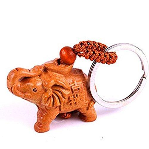 Hand Carved Wooden Elephant Key Ring,keychain, Key Holder Keychain