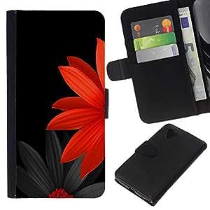 Planetar® Modelo colorido cuero carpeta tirón caso cubierta piel Holster Funda protección Para LG Nexus 5 D820 D821 ( Flor japonesa minimalista Negro Rojo )