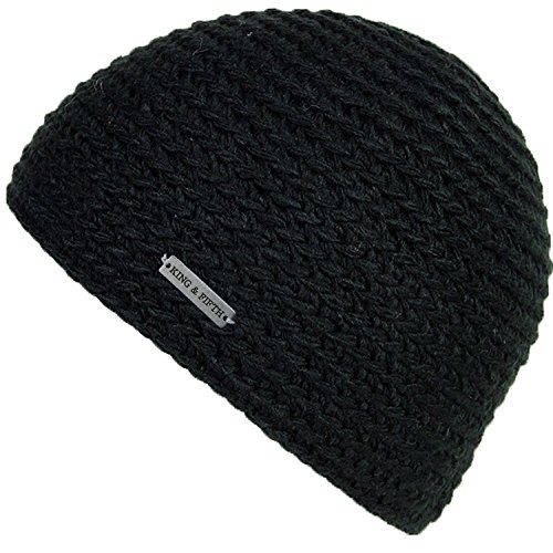 Style Skull Cap (Skull Cap by King & Fifth | Beanie for Men + Highest Quality and Perfect Form Fit + Knit Hat for Guys (Black))