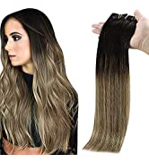 Full Shine Clip in Hair Extensions Balayage 20 Inch Remy Hair Extensions Clip in Human Hair Color...