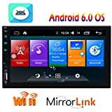 Android 6.0 System in Dash 7 inch Double 2 Din Head Unit Car Stereo am FM RDS Radio MP5 Player Support GPS Navigation Bluetooth WIFI 4G/3G CAM-IN OBD2 Mirror Link Function Receiver built-in Microphone