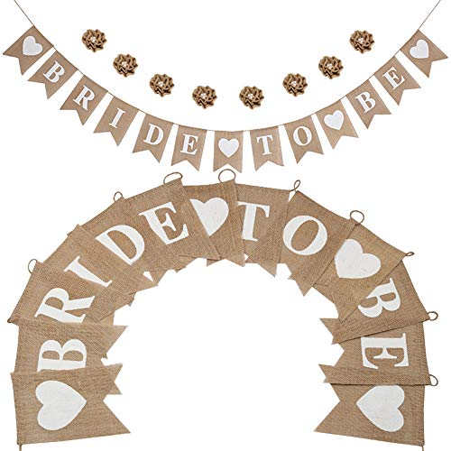 LOLOAJOY Linen Bride to Be Banner Party Decortions Wedding Banner Rustic Bunting Garland Decoration With 8pcs linen Flowers for Wedding Party Supplies ()