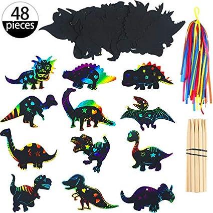 48 Piezas de Papel de Dinosaurio dibujo scratch Craft Art Kits imanes rascar Con Lápices de Madera y Cintas Para La Fiesta de Cumpleaños de ...