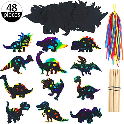 Outus 48 Pieces Scratch Dinosaur Paper Rainbow Scratch Paper Dinosaur Craft Art Kits with 24 Pieces Wooden Styluses and 48 Pieces Ribbons for Dinosaur Birthday Party Game Supplies ()